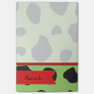 Your Name - Animal Print, Cow Spots - Green Red Post-it® Notes