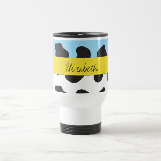 Your Name - Animal Print, Cow - Yellow Black Blue 15 Oz Stainless Steel Travel Mug