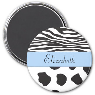 Your Name - Animal Print, Cow, Zebra - Black White 3 Inch Round Magnet