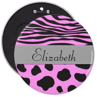 Your Name - Animal Print, Cow, Zebra - Pink Gray Buttons
