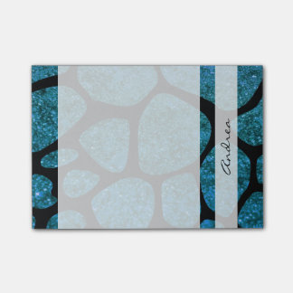 Your Name - Animal Print Giraffe, Glitter - Blue Post-it® Notes