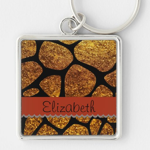 Your Name - Animal Print Giraffe, Glitter - Gold Silver-Colored Square Keychain
