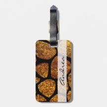 Your Name - Animal Print Giraffe, Glitter - Gold Travel Bag Tags