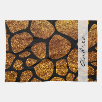 Your Name - Animal Print Giraffe, Glitter - Gold Towels