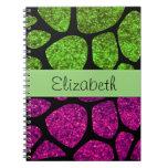 Your Name - Animal Print Giraffe, Glitter - Pink Spiral Notebook