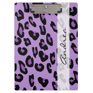 Your Name - Animal Print, Spotted Leopard - Purple Clipboard
