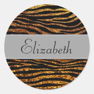 Your Name - Animal Print, Zebra, Glitter - Gold Classic Round Sticker