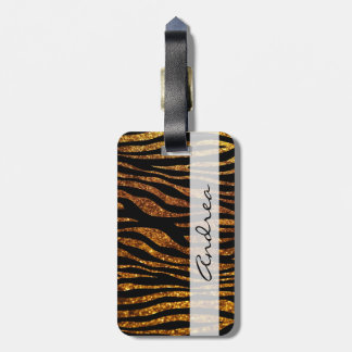 Your Name - Animal Print Zebra, Glitter - Gold Tag For Bags