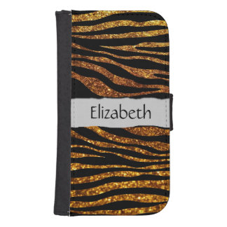 Your Name - Animal Print, Zebra, Glitter - Gold Phone Wallet