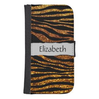 Your Name - Animal Print Zebra, Glitter - Gold Phone Wallet