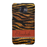 Your Name - Animal Print Zebra, Glitter - Gold Red Galaxy S2 Cover