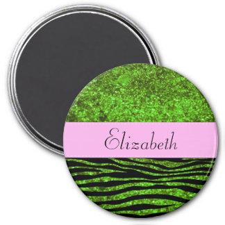 Your Name - Animal Print, Zebra, Glitter - Green 3 Inch Round Magnet
