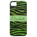 Your Name - Animal Print Zebra, Glitter - Green iPhone 5 Case