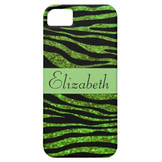 Your Name - Animal Print Zebra, Glitter - Green iPhone 5 Cases