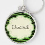 Your Name - Animal Print Zebra, Glitter - Green Keychain
