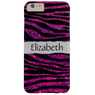 Your Name - Animal Print Zebra, Glitter - Pink Barely There iPhone 6 Plus Case
