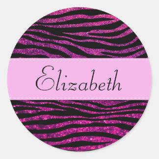 Your Name - Animal Print, Zebra, Glitter - Pink Classic Round Sticker