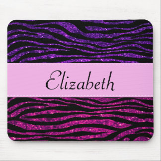 Your Name - Animal Print, Zebra, Glitter - Pink Mouse Pad