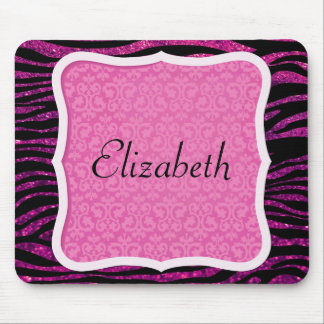 Your Name - Animal Print Zebra, Glitter - Pink Mouse Pad