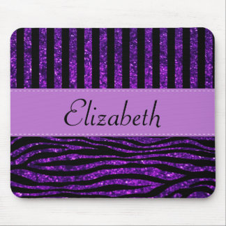 Your Name - Animal Print, Zebra, Glitter - Purple Mouse Pad