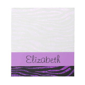 Your Name - Animal Print, Zebra, Glitter - Purple Notepad