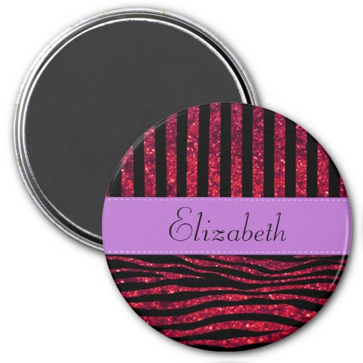 Your Name - Animal Print, Zebra, Glitter - Red 3 Inch Round Magnet