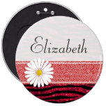 Your Name - Animal Print, Zebra, Glitter - Red 6 Inch Round Button