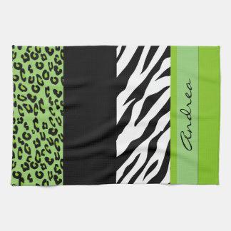 Your Name - Animal Print, Zebra, Leopard - Green Kitchen Towels