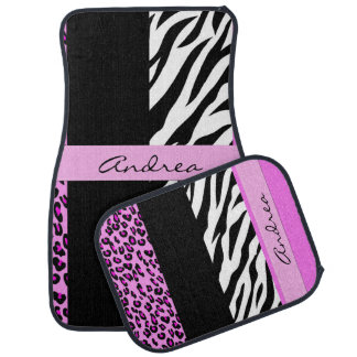 Your Name - Animal Print, Zebra, Leopard - Pink Car Mat