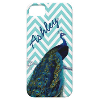 Your Name Aqua Chevron Vintage Peacock iPhone 5 Cover