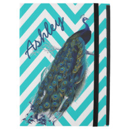 "Your Name Aqua Chevron Vintage Peacock iPad Pro 12.9"" Case"