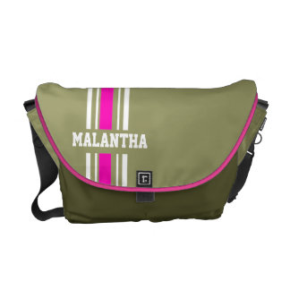 """your name"" army green pink white stripe bag"