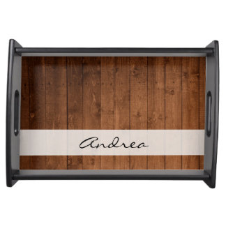 Your Name - Barn Wall Made of Old Wooden Planks Serving Platter
