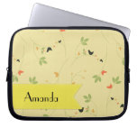 Your Name - Birds, Leaves, Berries - Green Yellow Laptop Sleeve