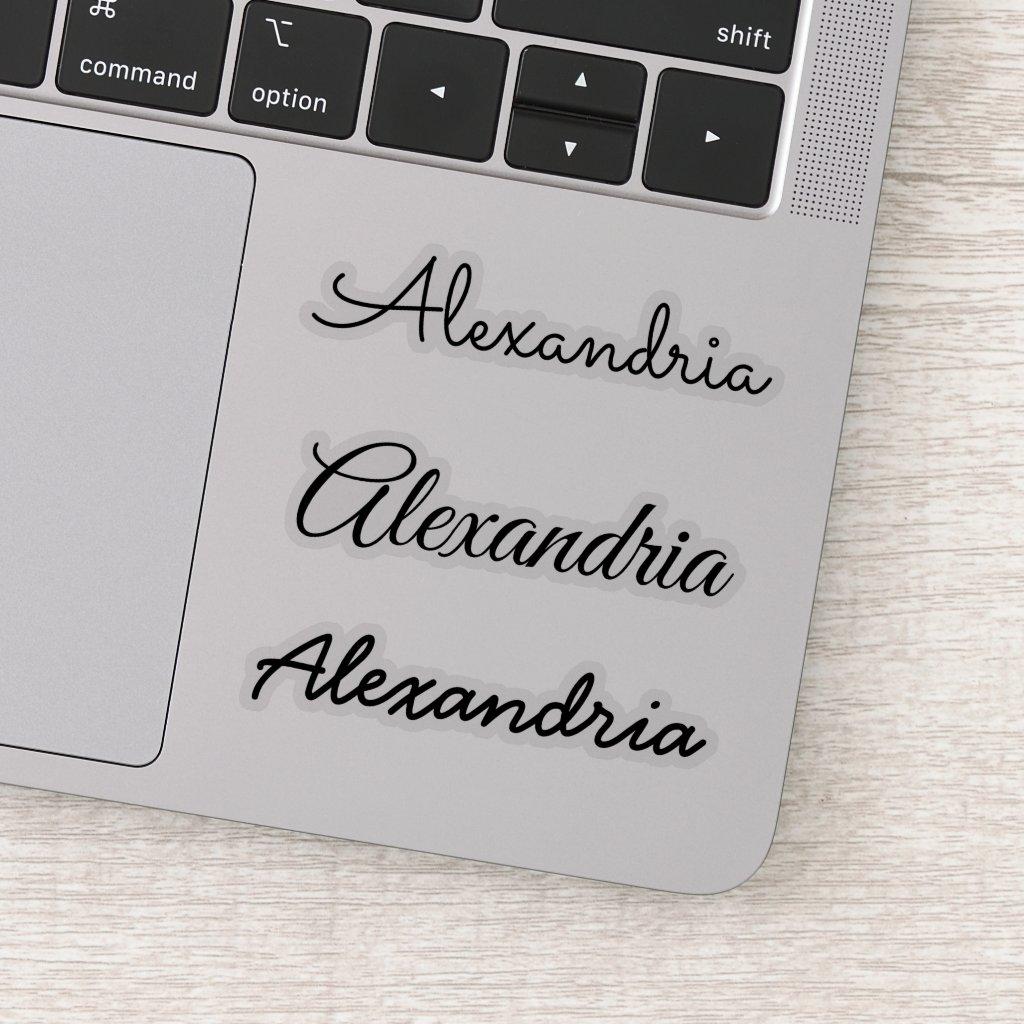 Your Name Black Handwritten Script Versions Sticker