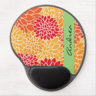Your Name - Blooming Dahlia Flowers - Orange Red Gel Mouse Pad