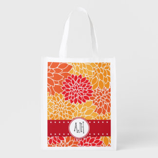 Your Name - Blooming Dahlia Flowers - Orange Red Grocery Bags