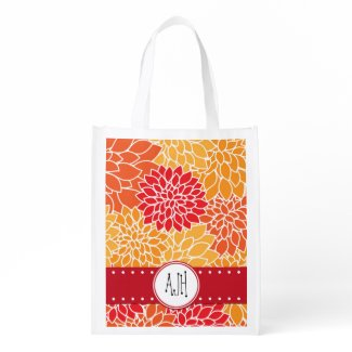 Your Name - Blooming Dahlia Flowers - Orange Red Reusable Grocery Bags