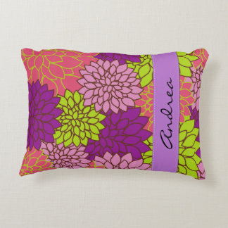 Your Name - Blooming Dahlia Flowers - Pink Purple Accent Pillow