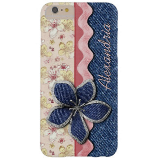 Your Name Blue Denim Jeans Pastel Floral Pattern Barely There iPhone 6 Plus Case