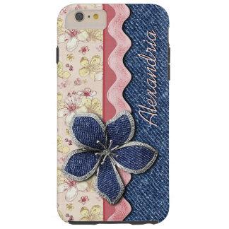Your Name Blue Denim Jeans Pastel Floral Pattern Tough iPhone 6 Plus Case