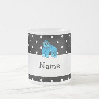 Your name blue gorilla black white polka dots mugs