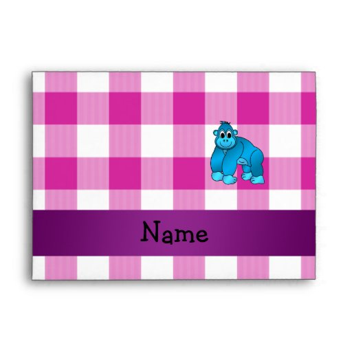 Your name blue gorilla pink gingham checkers envelopes
