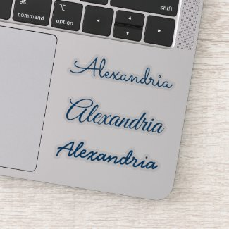 Your Name Blue Handwritten Script Versions Sticker