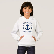 Your Name & Boat Vintage Anchor Stars Blue & White Hoodie