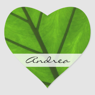 Your Name - Botanical Close Up - Green Leaves Sticker