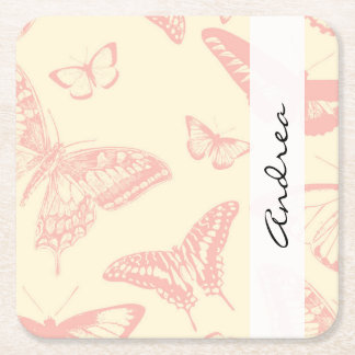 Your Name - Butterfly (Butterflies) - Pink Square Paper Coaster