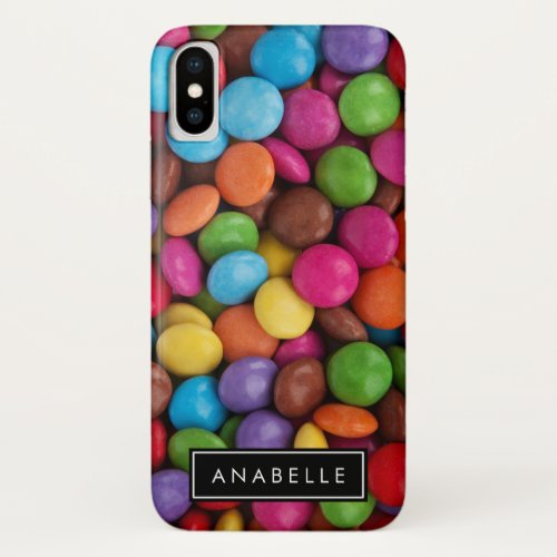 Your Name _ Button_Shaped Candy _ Purple Pink iPhone XS Case