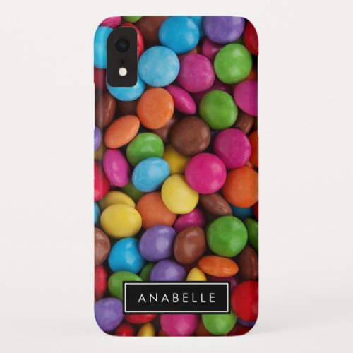Your Name _ Button_Shaped Candy _ Purple Pink iPhone XR Case