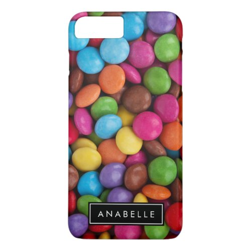 Your Name _ Button_Shaped Candy _ Purple Pink iPhone 8 Plus7 Plus Case